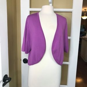 Roz & Ali Light Purple Shoulder Shrug Sweater (3X)